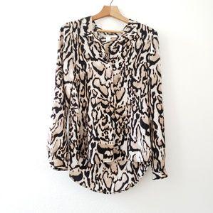 DVF harlow leopard silk blouse sz 4